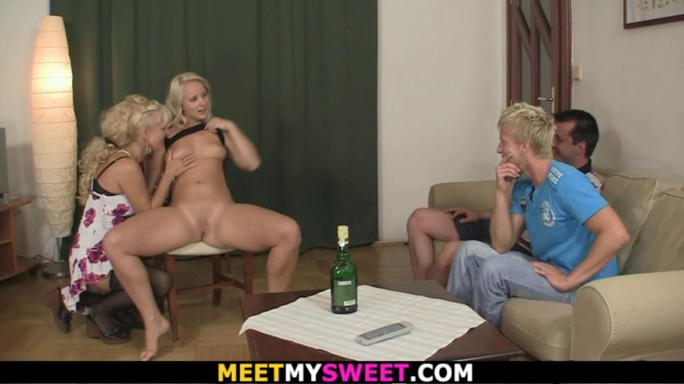 Mature couple and sons girl have fun