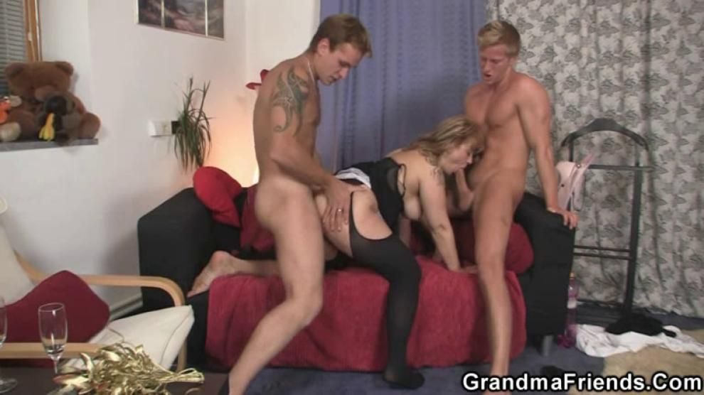 Two dudes pick up and fuck mature babe